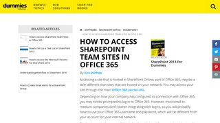 How to Access SharePoint Team Sites in Office 365 - dummies