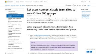 Let users connect classic team sites to new Office 365 groups ...