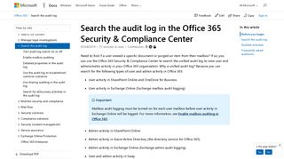 Search the audit log in the Office 365 Security & Compliance Center ...