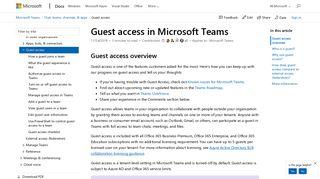 Guest access in Microsoft Teams | Microsoft Docs