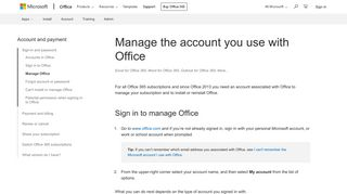 Manage the account you use with Office - Office Support