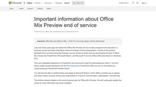 Important information about Office Mix Preview end of service ...