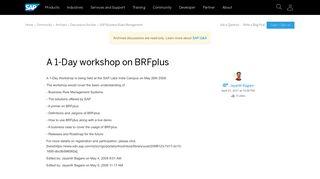 A 1-Day workshop on BRFplus - archive SAP