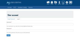 User account | my.ohiochristian.edu - Ohio Christian University