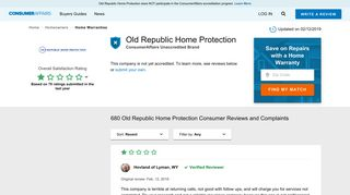 Top 678 Reviews and Complaints about Old Republic Home Protection
