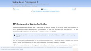 Implementing User Authentication – Using Zend Framework 3