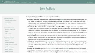 Login Problems - Omeka.net Help