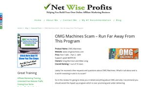 OMG Machines Scam - Run Far Run Fast - NetWiseProfits.com