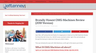 FINALLY - OMG Machines Review by SEO Expert, Jeff Lenney