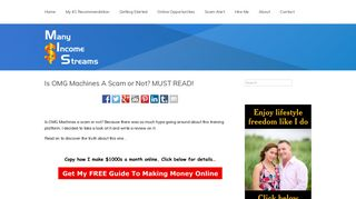 Is OMG Machines A Scam or Not? MUST READ! - Many Income Streams