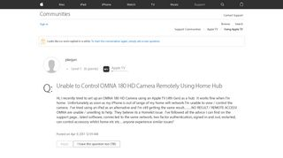 Unable to Control OMNA 180 HD Camera Remo… - Apple Community