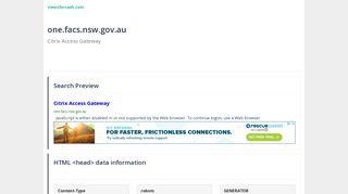 Citrix Access Gateway: one.facs.nsw.gov.au