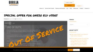 Special Offer For ONE20 ELD Users | Gorilla Safety