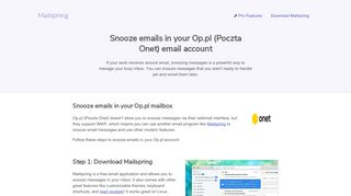 How to snooze emails in your Op.pl (Poczta Onet) email account