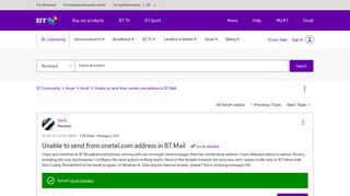 Solved: Unable to send from onetel.com address in BT Mail - BT ...