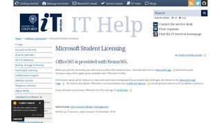 Microsoft Student & Staff ox.ac.onthehub.com   IT Services Help Site