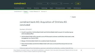 comdirect bank AG: Acquisition of OnVista AG concluded ...