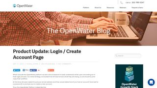 Product Update: Login / Create Account Page | OpenWater