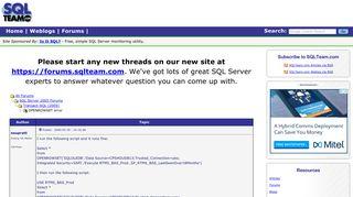 OPENROWSET error - SQL Server Forums - SQLTeam.com