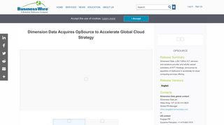 Dimension Data Acquires OpSource to Accelerate Global Cloud Strategy