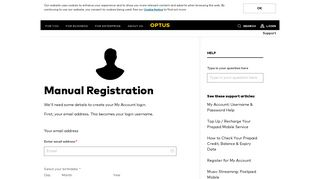 My Account Registration - Optus