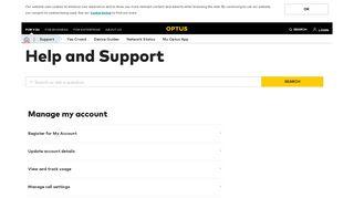 Manage My Account - Optus