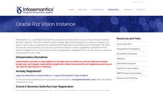 Oracle R12 Vision Instance | Infosemantics