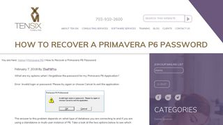 How to Recover a Primavera P6 Password - Ten Six Consulting