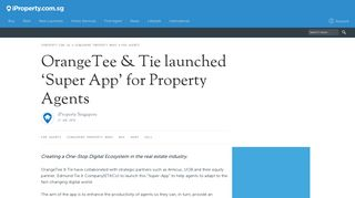 OrangeTee & Tie launched 'Super App' for Property Agents - iproperty ...