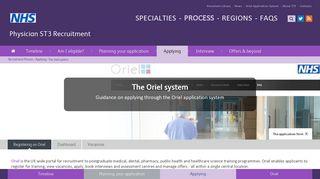 The Oriel application system - ST3 Recruitment