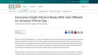 Exclusive Orig3n Mind & Body DNA Test Offered on Amazon Prime Day