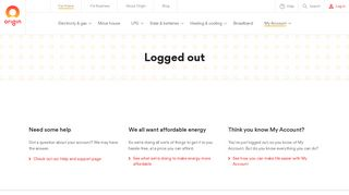 Logged out - Origin Energy