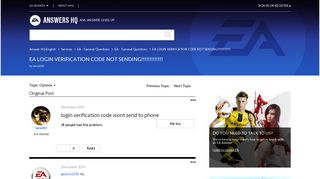 EA LOGIN VERIFICATION CODE NOT SENDING!!!!!!!!!!!!! - Answers EA