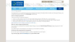 OP login passwords - Otago Polytechnic