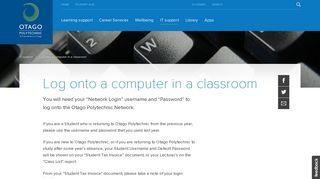 Log onto a computer in a classroom » Otago Polytechnic