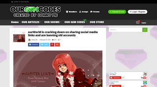 ourWorld is cracking down on sharing social media links and are ...