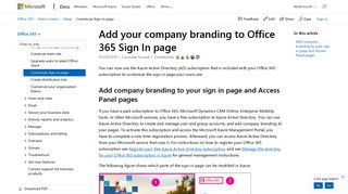 Add your company branding to Office 365 Sign In page | Microsoft Docs