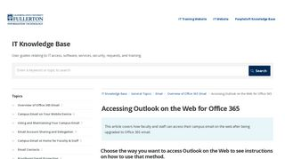 Accessing Outlook on the Web for Office 365 | Email | IT Knowledge ...