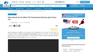 Coolant Temperature Warning Light Comes Up? - CAR FROM JAPAN