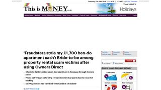 Fraudsters stole my hen-do cash via Owners Direct property rental ...