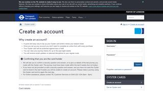 Oyster online - Transport for London - Create an ... - Oyster Card - TfL