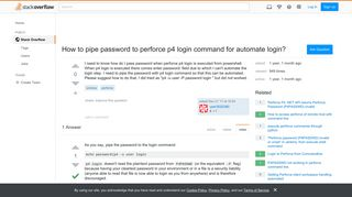 How to pipe password to perforce p4 login command for automate ...