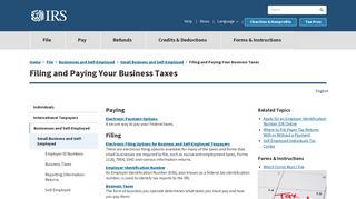 Filing and Paying Your Business Taxes | Internal Revenue Service