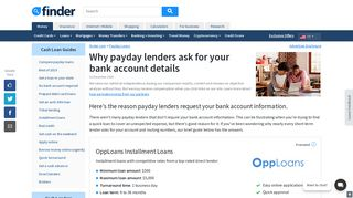 Why payday lenders ask for your bank account details | finder.com