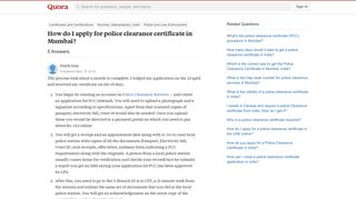 How to apply for police clearance certificate in Mumbai - Quora