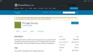 PD Login Security   WordPress.org