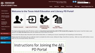 Welcome to the Texas Adult Education and Literacy PD Portal! - TCALL