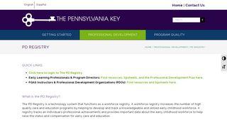 PD REGISTRY – THE PENNSYLVANIA KEY