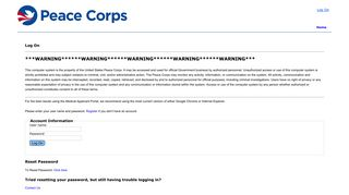 Peace Corps Applicant Portal - Log On