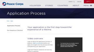 Application Process - Peace Corps